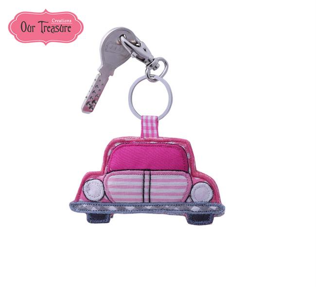 Pink & Grey Car Keychain
