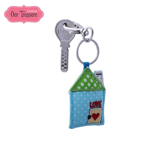 Blue & Green House Keychain