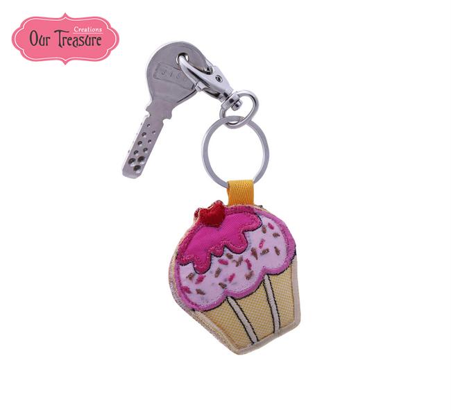Pink & Yellow CupCake Keychain